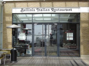View of Bellini's Italian Restaurant, Cardiff Bay